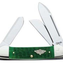 Case 09757 Vintage Family Brilliant Green Bone Gunboat Canoe Knife