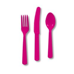 Creative Converting Touch Of Color Heavy Duty 24 Count Plastic Cutlery Assortment Set, Includes Fork/Spoon/Knife, Hot Magenta