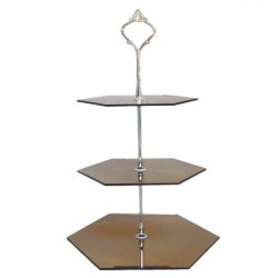 Three Tier Bronze Mirror Hexagon Cake Stands - Medium + Silver Handle