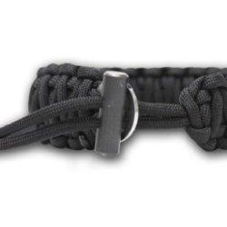 Bison Designs Cobra Pattern Flint And Knife Para Cord Survival Bracelet (Black, Adjustable)