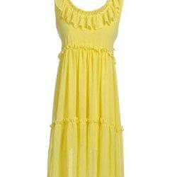Anna-Kaci S/M Fit Yellow Soft Buttercup Flouncey Ruffle Trim Knife Pleat Dress