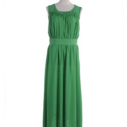 Anna-Kaci S/M Fit Green Gathered Knife Pleat Bodice Mini Ruffle Neckline Dress