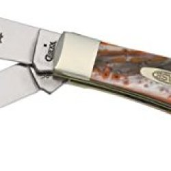 Case Cutlery 9254Of Oktoberfest Corelon Trapper Pocket Knife With Stainless Steel Blades, Orange, Black And White Mixed Corelon
