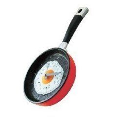Fried Egg With A Frying Pan Type Wall Clock Red (Japan Import)