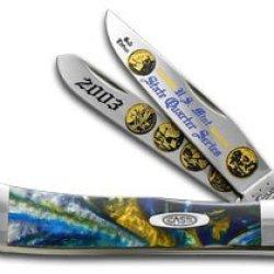 Case Xx 2003 State Quarter Gold Series Trapper 1/3000 Stainless Pocket Knife Set