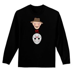 Scary Face Versus Scary Face - Halloween Adult Long Sleeve Dark T-Shirt - Black - Large