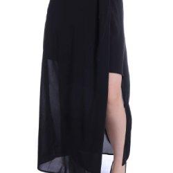 Anna-Kaci S/M Fit Black Side Slit Uneven Hem Knife Pleat Semi Sheer Maxi Skirt