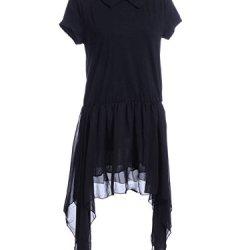 Anna-Kaci S/M Fit Black Peter Pan Collar Knife Pleat Pointed Chiffon Hem Dress