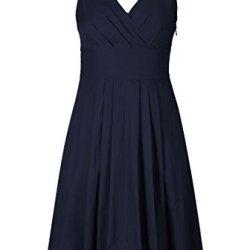 Eshakti Women'S Trapunto Trim Cotton Poplin Dress L-12 Tall Deep Navy