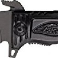 Tac Force Rescue A/O Lock Fold Knife, 3 7/8, Black Hc Steel A/O Ps Blade W/ Sawback, Tf-711Bk