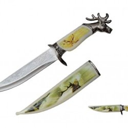 "13.5"" Collector'S Wildlife Collection Hunting Bowie Knife White Tale / Mule Deer & Elk With Antlers With Decorative Sheath & Handel"
