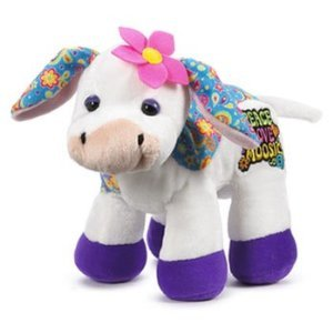 Webkinz Virtual Pet Plush - Rockerz - PEACE LOVE & MOOSIC COW + Free Pack Of Rock Bandz Silly Bandz Bracelets!!!