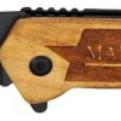 "3.25"" ""U.S. Marine"" Spring Assisted Rescue Knife - Wood"