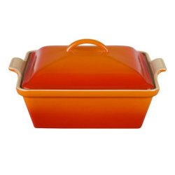Le Creuset Heritage Stoneware 2-1/2-Quart Covered Square Casserole, Flame