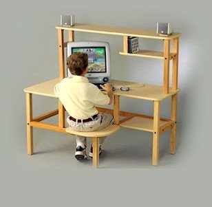 Picture of Comfortable Wild Zoo Furniture GRD MPL-RED-WZ Grade School Computer Desk in Maple with Red Trim (B0029L3WW6) (Computer Desks)