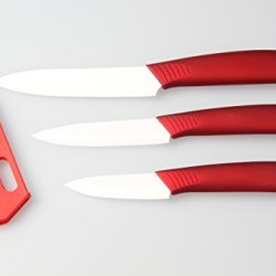 "Ceramic Knives Ceramic Knife Set --3 Include 5"" Slicing Knife 4"" Utility Knife 3"" Paring Knife And 3* Protection Pp With Flower (Red)"