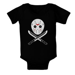 Scary Mask With Machete - Halloween Baby Romper Bodysuit Dark Black - 6 Mos