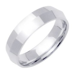18K White Gold Traditional Knife Edge Women'S Wedding Band (6Mm) Size-3