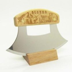 Inupiat Birch Alaska Cutlery Ulu Knife Animal Collage Wildlife