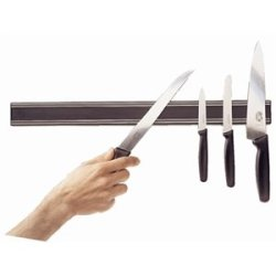 "Black Magnetic Knife Rack 24"" (L) Rack."