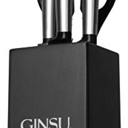 Premium Ginsu Koden 5 Piece Stainless Steel Cutlery Knives Block Set & A Special Gift