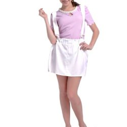 Anna-Kaci S/M Fit White Attached Wide Loop Suspenders Paper Bag Waist Skirt