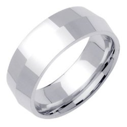 18K White Gold Traditional Knife Edge Women'S Wedding Band (8Mm) Size-3