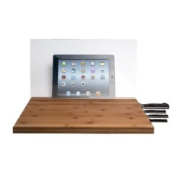 Viesrod - Cta Digital Bamboo Cutting Board With Knife Storage And Screen Shield For Ipad
