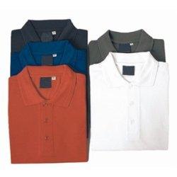 "White Polo Shirt Size: S (34 - 38""). 65% Polyester 35% Cotton."