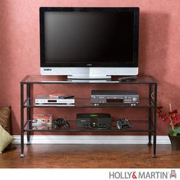 Image of Holly & Martin Guthrie Distressed Metal and Glass TV Stand (63-113-055-6-01)