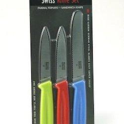 Kuhn Rikon Swiss Knife Set: Paring Knife - Green, Tomato Knife - Red, Sandwich Knife - Blue