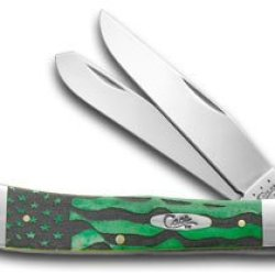 Case Xx U.S. Flag Green Bone Trapper Stainless 1/500 Pocket Knife Knives