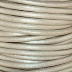 "#41 Metallic Pearl Round Leather Cord 2Mm (3/32"") X 50 Meters (54.68 Yds)"