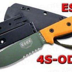 Esee Model 4 Od Green Bld Serrated + Kydex Sheath 4S-Od
