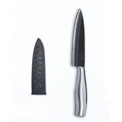 Casa Neuhaus Black Series Ceramic Knife - 5 Inch Utility Knife - Black Ceramic Blade & Stainless Steel Handle - Includes Knife Sheath And Black Series Gift Box