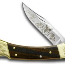 Buck 110 Wooden Ten Point Buck 1/500 Scrolled Bolster Folding Hunter Pocket Knife Knives