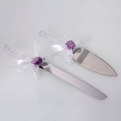 Stainless Steel Wedding Party Cake Knife And Server Set Bread Knife, Faux Crystal