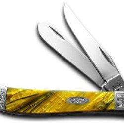 Case Xx Engraved Bolster Series 24K Gold Corelon Mini Trapper Pocket Knives