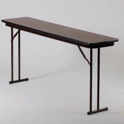 "Correll St1872Px 01 High Pressure Laminate Classroom, Training And Seminar Off Set Leg Folding Table, Rectangular, 18"" Width X 72"" Length, Seats 3, Walnut"