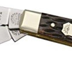 German Eye Mini Trapper Folding Knife,Clip And Spey Blade, Black Jigged Bone Handle Bj Bone