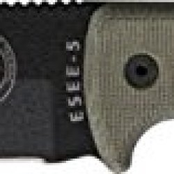 Esee Model 5 Fixed Blade Knife, 5.25In, Black Stainless, Od Green Canvas Micarta Es-5P-Ko-Bk