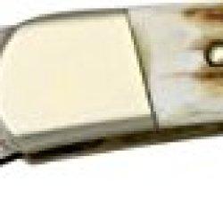Hen & Rooster Stag/Damascus Lockback Folding Knife, 2.5In, Damascus Steel Clip Blade, 351Dsd