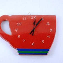 Perk Up Coffee Cup Red Decorative Wall Clock