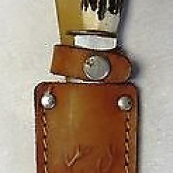 Vintage Faux Stag Horn Handle Pocket Boys Knife W Leather Case Hunting Fishing