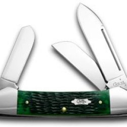 Case Xx Hunter Green Jigged Bone Gunboat Canoe Pocket Knife Knives