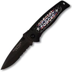 Smith & Wesson Sw21806 Swat Baby Black Serrated With Insert Knife, Black With Special Forces Design
