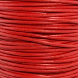 "Red Round Leather Cord 3Mm (1/8"") X 2 Meters (2.18 Yds)"