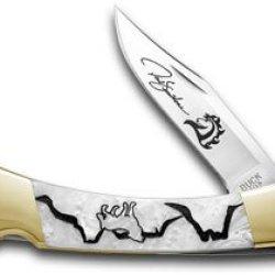 Buck 110 Yellowhorse Custom White Pearl Corelon Wolf Valley 1/100 Knives