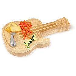Picnic Time Guitar Swivel Wood Cheese Board With Tools