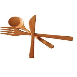 Japanbargain 3-Piece Set Bamboo Flatware, Fork, Knife And Spoon